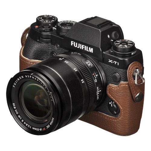 ハクバ FUJIFILM X-T1専用 本革ボディケース ブラウン