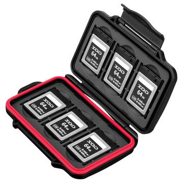 ハードメモリーカードケース XQD6(XQDカード用)レッド